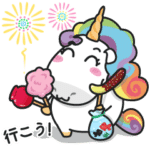 Plump unicorn summer sticker set